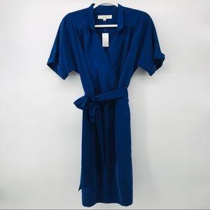 LOFT | Royal Blue Faux Wrap Fit and Flare Dress